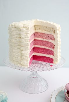 Pink ombre cake - thick icing looks much better than a thin layer