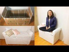 DIY Mini sofá/sapateira de PAPELÃO   Polly Peçanha - YouTube