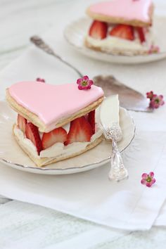 puff pastry heart with royal icing, mascarpone cream & strawberries.