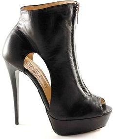 Divine follie A35486 femme noire Les bottines zip ouvert talon aiguille