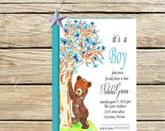Bear baby shower invitation, Printable woodland invite, Bear invitation party, digital forest baby shower,invite teddy bear