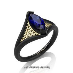 French 14K Black Yellow Gold 1.0 Carat Marquise Blue Sapphire
