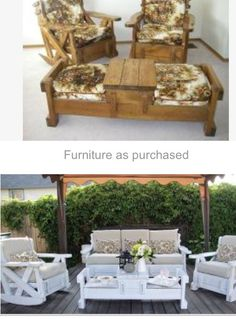 Ugly 70s couch & chairs transformed into beautiful outdoor furniture! Recycle/Upcycle