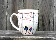 Police Ribbon Love Birds : Hand Painted Cherry Blossom Coffee Cup