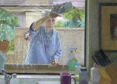 """Window 24x34"""" pastel on paper by Sally Strand 2013"""