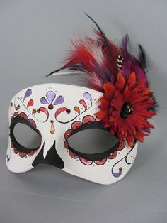 Deluxe Fall Colors Day of the Dead Mask by maskedzone on deviantART