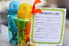 End of the Year Gifts Updated! - Survival Kit for Life: I've always done this in the past using small sand pails from Michaels, but this year I saw a cute idea using these colorful water bottles from Michaels and decided to give it a try! (Thanks to The Bubbly Blond Teacher for the idea! The survival kit printable and items all fit nicely into the water bottles! Also, I tried out Alisha's idea of  writing my students' names on the bottles using a Sharpie Paint Pen. I practiced on paper first…
