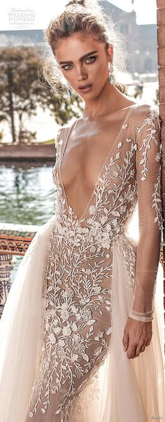 berta fall 2018 bridal long sleeves deep v neck heavily embellished bodice sexy romantic fit and flare mermaid wedding dress a line overskirt open scoop back chapel train (1) zv