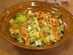 Cut calories with a Buffalo chicken salad with carrots, scallions and blue cheese dressing