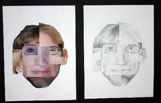 Portrait created with many faces collaged together and then drawn with graphite pencil - Conway High School Art Project