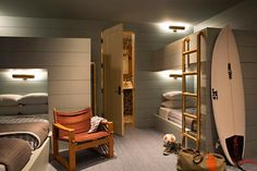 Cabin Bunk Beds, Bunk Bed Ladder, Bunk Beds Boys, Modern Bunk Beds, Bunk Rooms, Bedrooms, Built In Bunks, Built In Bed, Yurts