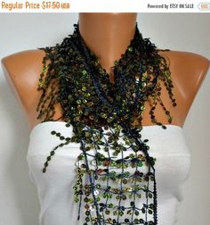 ON SALE Sequin Floral Scarf Women Shawl Scarf belly