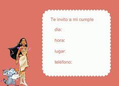 Invitación prinesa Pocahontas