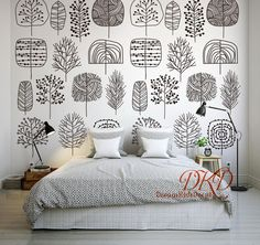 Black and White Wall Decal Wallpaper sticker for Kids room, Cartoon plant pattern, Peel and stick, Nursery, Baby x White Kids Room, Diy Wood Wall, Wall Murals, Wall Decal, Wallpaper Stickers, Wall Wallpaper, Pattern Wallpaper, Plywood Furniture, Black And White Wallpaper