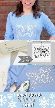 DIY Hand-Lettered Snow Days Tee + Free Cut File   Make this adorable hand-lettered tee using your Silhouette or Cricut! pitterandglink.com