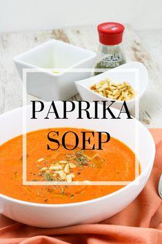 Heerlijke vega soep met veel paprika's en kikkererwten Thai Red Curry, Dinner, Cooking, Healthy, Ethnic Recipes, Food, Dining, Kitchen, Food Dinners