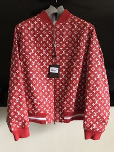 Supreme X Louis Vuitton Red Leather Blouson SKU 1A3FBF Monogram Bomber  Jacket XL bbc36b5a230a