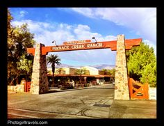 Entrance at The Ranch at Furnace Creek, Death Valley, California. Hot as hell!