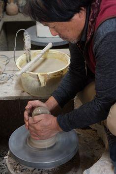 Mr. Wada, making a cup by potters wheel; ROKURO, at Keizan Kiln, Oroshi, Toki, Gifu, JAPAN