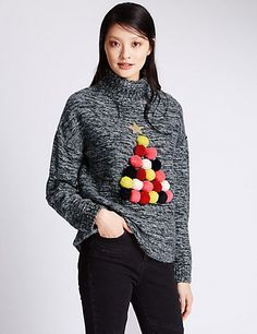 We love this pom-pom jumper from M&S, perfect for a stylish addition to the office! Christmas Jumper Day, Knitted Christmas Jumpers, Diy Ugly Christmas Sweater, Christmas Knitting, Ugly Sweater, Christmas Diy, Crochet Christmas, Christmas Outfits, Pull Rennes