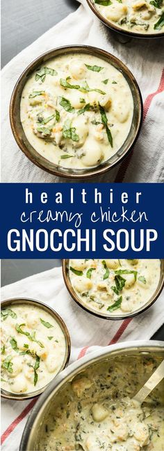 Creamy chicken gnocchi soup. The tastiest soup I've ever had! Just like the one at Olive Garden but with some healthier swap-ins! 245 calories per serving.