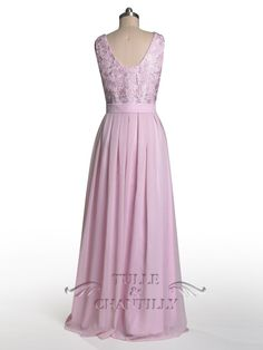 Dramatic Vintage Lace Bridesmaid Dress with Flowing Chiffon Skirt 7