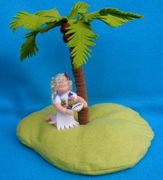 felt island girl, atelier pippilotta, nature table Summer, seizoenstafel zomer