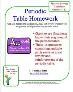 Periodic Table Homework.  This is a set of homework questions on the periodic table. Students answer questions about groups and periods, valence electrons and valence shells, metals and nonmetals, atomic radii, energy levels and sublevels. This could be used as a quiz or for test review. $