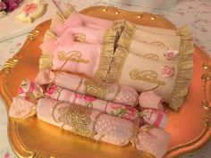 Pink and gold candy at a shabby chic vintage birthday party! See more party ideas at CatchMyParty.com!