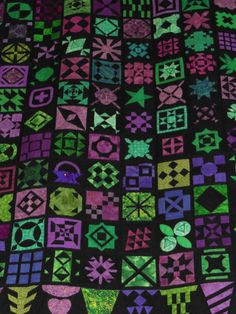 quiltlia: Dear Jane in purple, fuchsia and green on a black background. Pour l'Amour du Fil 2013