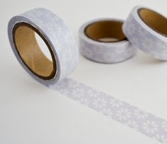 Single roll of washi masking tape with lavender purple flower pattern. Great for travel journals, scrapbooking, gift wrapping, decorating cards and envelopes and more! Add a little dash of cuteness to