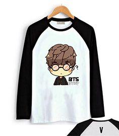 Fanstown BTS bangtan boy black shoulder member cartoon signature long sleeve shirt J-HOPE Jinmin V Rap monster