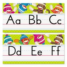 Sock Monkeys Alphabet Line Bulletin Board Set, 16 3/4 X 8 1/2, 12 Pieces