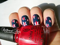 4th of july, stars and stripes, patriotic red, white and blue nail polish art manicure