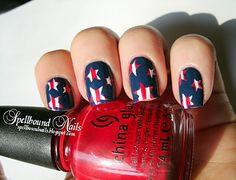 july 4th nails nail polish, fourth of july, memorial day, star, nail arts, 4th of july, patriotic nails, stripe, blue nails