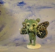 Aleah Klay Studio: Miniature Teddy bear winter fairy 5 way jointed bear by Aleah Klay Revised fairy bear SOLD