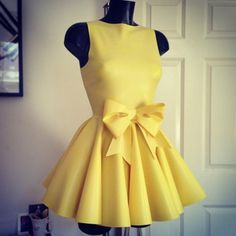 Dress: yellow, cute dress, yellow dress, cute, robe, bow, summer ...