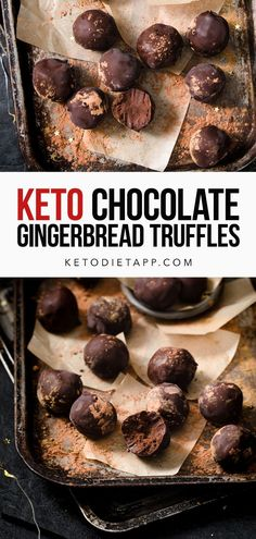 These easy low-carb Gingerbread Ganache Truffles are perfectly smooth on the inside, spiced delicately with cinnamon and ginger, and encased in a crisp sugar-free chocolate shell. #keto #lowcarb #paleo #vegan #vegetarian #fatbombs Sugar Free Candy, Sugar Free Desserts, Keto Desserts, Dessert Recipes, Sugar Free Chocolate, Dark Chocolate Chips, Chocolate Ganache, Dairy Free Recipes, Keto Recipes