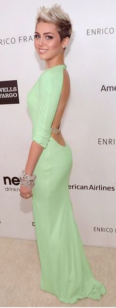 Miley looking normal in a gorgeous mint gown