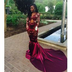 Long Sleeves Sexy Mermaid Popular Inexpensive High Quality Long Prom Dresses, WG274
