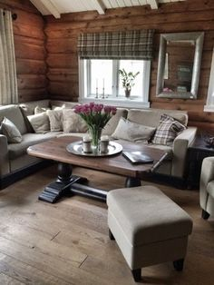 Beautiful interior / furnitures in a cabin .no ✔️ Picture by Cabin Decor, Cabins And Cottages, Living Dining Room, House, Home Decor, House Interior, Log Homes, Cabin Interiors, Barn House Interior