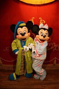 Mickey and Minnie in their pyjamas