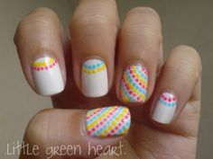 nail polish designs for very short nails | Splendid Colorful Dots Motif On White Nail Art Design Idea For Short ...