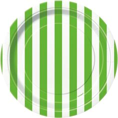 Lime Green Stripe Dessert Plates