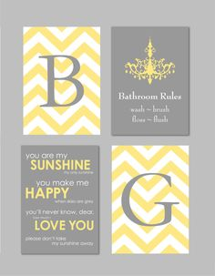 Yellow and Gray Bathroom Art Home Decor Prints You Are My Sunshine Chandelier Chevron Monogram Prints - Set of four 5x7s You Choose Colors