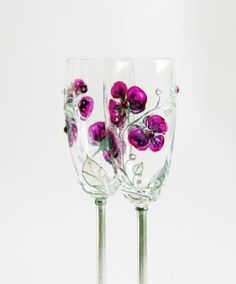Toasting Wedding Champagne Flutes Purple Fuchsia by NevenaArtGlass, $51.90