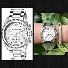 HPAuthorities Michael Kors CrystalSilver Watch % AUTHENTIC ✨ Gorgeous polished silver tone ladies watch from Michael Kors Stainless steel case & stainless steel bracelet. Fixed stainless steel bezel set with crystalsScratch resistant mineral crystal. Water resistant at 100meters. New with tag. Box included. Bangle NOT included. NO TRADE  FINAL PRICE ‼️ Michael Kors Accessories Watches