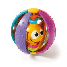 A rainbow-colored ball with a textured outer shell that helps develop fine motor skills and would make a cute addition to any baby gift.