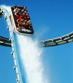 115 feet, 75 degree drop: tallest water ride = fun! Knott's Berry Farm in Buena Park, CA