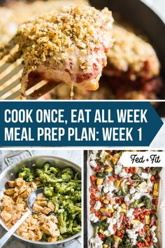 This Cook Once Eat All Week Meal Prep Plan Week 1 will give you a week's worth of healthy breakf&; This Cook Once Eat All Week Meal Prep Plan Week 1 will give you a week's worth of healthy breakf&; Fitness Meal Prep, Paleo Meal Prep, Sunday Meal Prep, Lunch Meal Prep, Meal Prep For The Week, Clean Eating Meal Plan, Clean Eating Recipes, Healthy Breakfast Recipes, Healthy Recipes